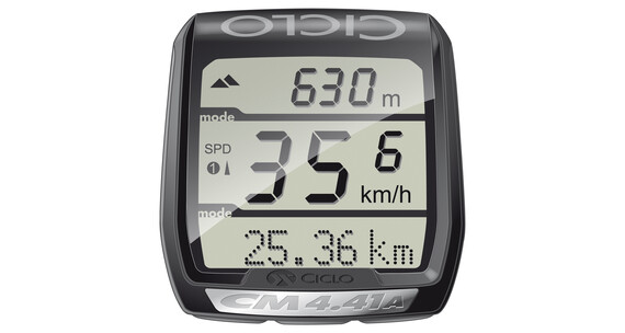 Ciclosport CM 4.41 ajotietokone korkeuden mittauksella , musta